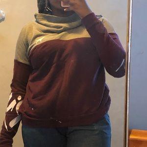 Maroon and Grey Collared PINK Sweatshirt